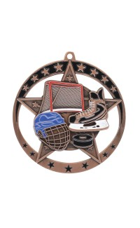 "Medal Star Hockey 2.75"" Dia. Bronze"