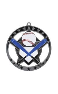 "Medal Star Baseball 2.75"" Dia. Silver"