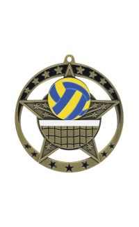 "Volleyball Medal Star 2.75"" Dia. Gold"