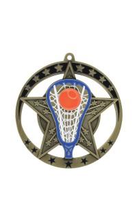 "Medal Star Lacrosse 2.75"" Dia. Gold"