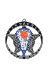 "Medal Star Lacrosse 2.75"" Dia. Silver"