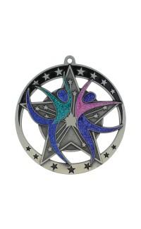 "Dance Medal Star 2.75"" Dia. Silver"