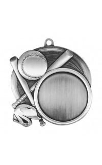 """Medal Sport 1.5"""" Insert 2.5"""" Dia. Baseball Silver"""