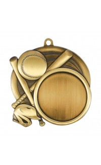 """Medal Sport 1.5"""" Insert 2.5"""" Dia. Baseball Gold"""