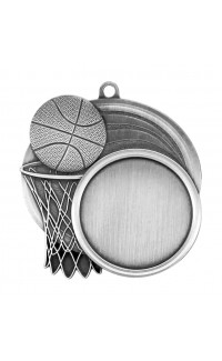 "Medal Sport 1.5"" Insert 2.5"" Dia. Basketball Silver"