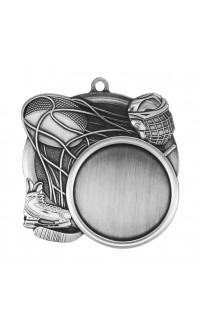 """Medal Sport 1.5"""" Insert 2.5"""" Dia. Hockey Silver"""