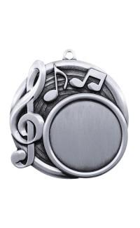 "Medal Sport 1.5"" Insert 2.5"" Dia. Music Silver"