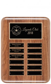 Solid Walnut Perpetual Plaque, 24 Plates (plates included)