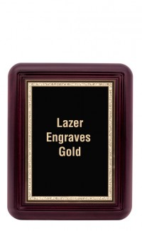 "Mahogany Finish Gallery Plaque with Gold Border Plate 8""x10"""