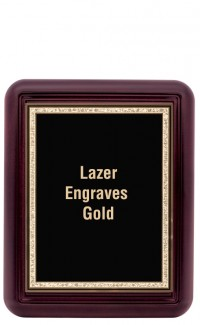 "Mahogany Finish Gallery Plaque with Gold Border Plate 9""x11"""