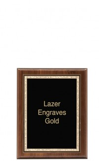 "Border Series Walnut Plaque with Plate, 7"" x 9"""