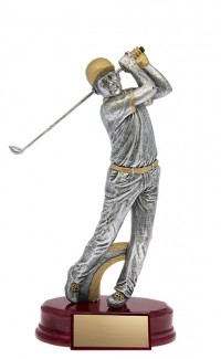 Resin Classic Male Golfer Silver/Gold 7.5""
