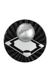 """Black/Silver Baseball Resin Insert, 2 1/2"""""""