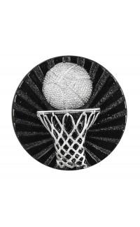 """Black/Silver Basketball Resin Insert, 2 1/2"""""""